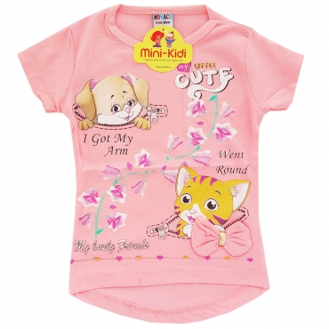 Tricou fetite 9 luni-4 ani, catelus cu pisicuta