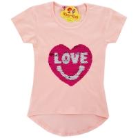 Bluza fetite 3-5 ani, paiete, inimioara, roz