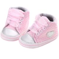 Pantofiori fetite 0-12 luni, inimioara, roz