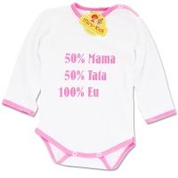 Body bumbac pieptanat bebelusi 0-3 ani, mesaj 50% mama, 50% tata, 100% eu