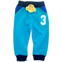 Pantaloni trening copii 6-12 luni, cifre, turcoaz