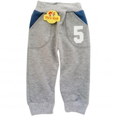 Pantaloni trening copii 6-12 luni, cifre, gri