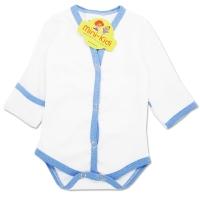 Body cu manusa, nou nascuti 0-1 luni, alb cu margine bleu