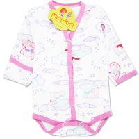 Body cu manusa, nou nascuti 0-1 luni, norisori, roz