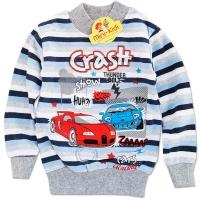 Bluza groasa baieti 1-5 ani, dungi, crash, bleu
