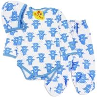 Costumas grosut bebelusi 0-12 luni, ursuleti, albastru