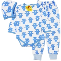 Costumas grosut copii 1-3 ani, ursuleti, albastru
