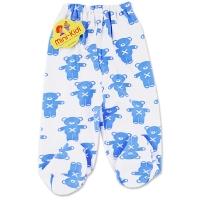 Pantaloni grosuti cu botosei bebelusi 0-12 luni, ursuleti, albastru