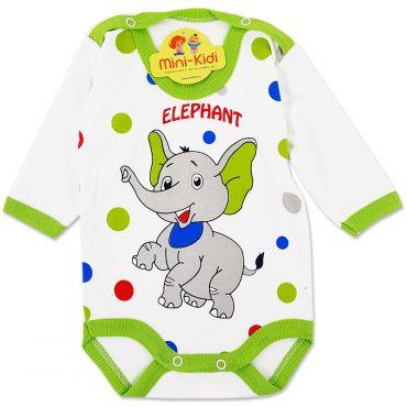 Body bumbac bebelusi 1-9 luni, elefant, verde