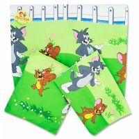 Lenjerie patut cearsaf cu elastic, aparatori si pilota, Tom & Jerry