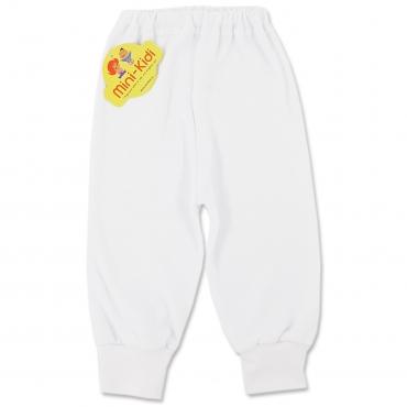 Pantaloni albi din bumbac pieptanat, bebelusi si copii 0-3 ani