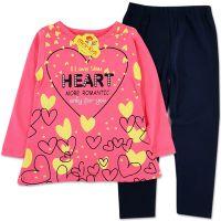 Compleu fetite 9 luni-3 ani, bluza lunga cu colanti, inimioare, roz