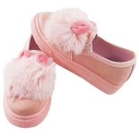 Pantofi fetite model iepuras cu puf, marimi de la 27 la 31