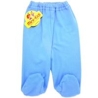 Pantaloni bleu cu botosei din bumbac pieptanat bebelusi 0-6 luni