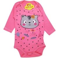 Body bumbac bebelusi 1-12 luni, pisicuta, roz