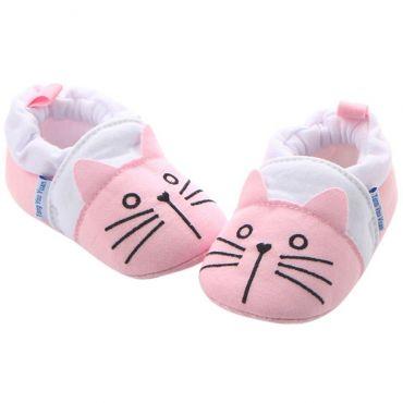 Mocasini bebelusi 0-12 luni, pisicute, roz