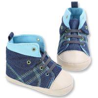 Pantofiori inalti bebe 3-18 luni, denim, albastru