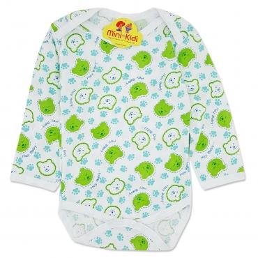 Body bumbac subtire bebelusi 0-12 luni, ursuleti, verde