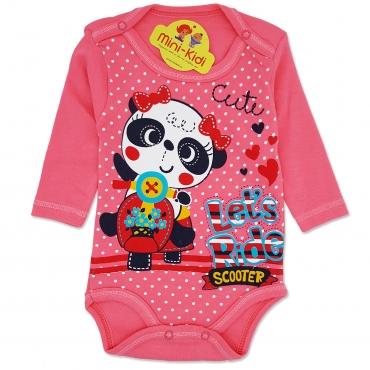 Body bumbac bebelusi 1-12 luni, ursulet panda, roz