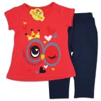 Compleu de vara fetite 6 luni-3 ani, bluza cu colanti, Princess, corai