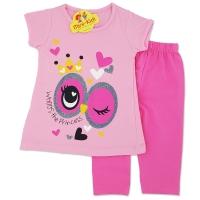 Compleu de vara fetite 6 luni-3 ani, bluza cu colanti, Princess, roz