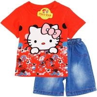 Compleu de vara fetite 9 luni-3 ani, Hello Kitty, corai