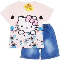 Compleu de vara fetite 9 luni-3 ani, Hello Kitty, roz