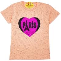 Bluza fetite 7-11 ani, paiete reversibile, inimioara Paris