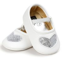 Balerini albi fetite 3-18 luni, inimioara argintie