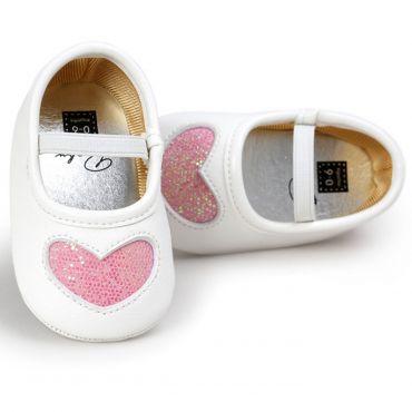 Balerini albi fetite 3-18 luni, inimioara roz