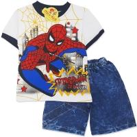 Compleu de vara baieti 6 luni-2 ani, SpiderMan, denim