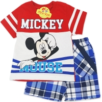 Compleu de vara copii 1-3 ani, Mickey Mouse, carouri