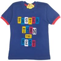 Tricou bumbac copii 7-10 ani, faster, bleumarin