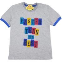 Tricou bumbac copii 7-10 ani, faster, gri