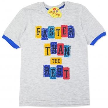Tricou bumbac copii 7-10 ani,, faster, gri