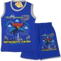 Compleu de vara baieti 4-8 ani, Spiderman, albastru