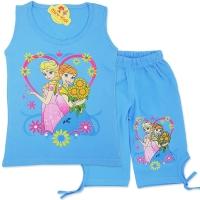 Compleu de vara fetite 4-8 ani, Elsa si Ana, bleu
