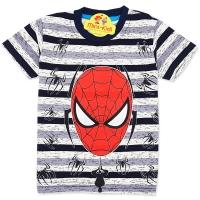 Tricou bumbac copii 3-8 ani, Spiderman, dungi gri