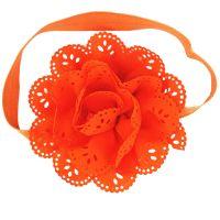 Bentita portocalie fetite 0-7 ani, floare mare