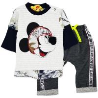 Compleu bumbac  bebelusi baieti 1-9 luni, Mickey Mouse