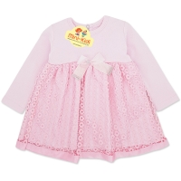 Rochita eleganta fetite 3-6 luni, bumbac, roz