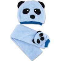 Set caciula si fular 0-9 luni, Panda bleu