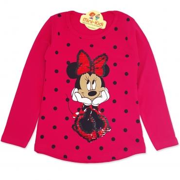 Bluza fetite 9 luni-8 ani, paiete reversibile, Minnie Mouse, fuchsia