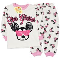 Pijamale bumbac fetite 9 luni-2 ani, Minnie Mouse, crem-roz