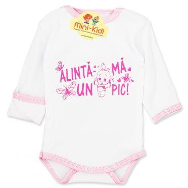 """Body mesaj """"Alinta-ma un pic"""" nou-nascuti 0-1 luni, bumbac pieptanat, alb-roz"""