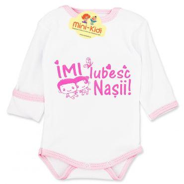 """Body mesaj """"Imi iubesc nasii"""" nou-nascuti 0-1 luni, bumbac pieptanat"""