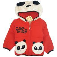 Geaca groasa copii 1-4 ani, Panda, rosu