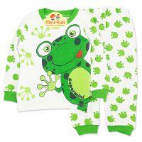 Pijamale bumbac copii 9 luni-2 ani, broscuta, crem-verde