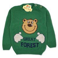 Pulover tricotat copii 1-3 ani, ursulet, verde