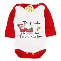 Body Preferata lui Mos Craciun bebe 0-1 luni, bumbac pieptanat